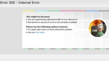 Mensagem de erro apareceu para todos os que tentaram acessar as páginas e serviços da BBC online
