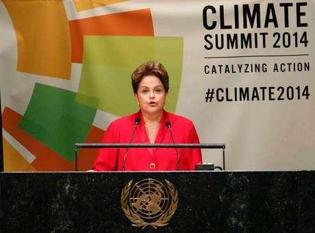 Presidente Dilma Rousseff durante pronunciamento na Cúpula do Clima da ONU, em Nova York. 23/09/2014. Foto: Mike Segar / Reuters