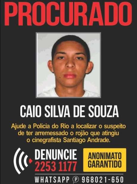 Disque-Denúncia lançou nesta terça-feira um cartaz com a foto do suspeito Foto: Divulgação