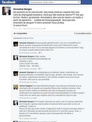 No Facebook, jornalista disse que médicas cubanas pareciam empregadas domésticas Foto: Reprodução