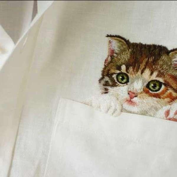 Camisas gato bordadas la moda que causa sensaci n en la red for Red transparente para gatos