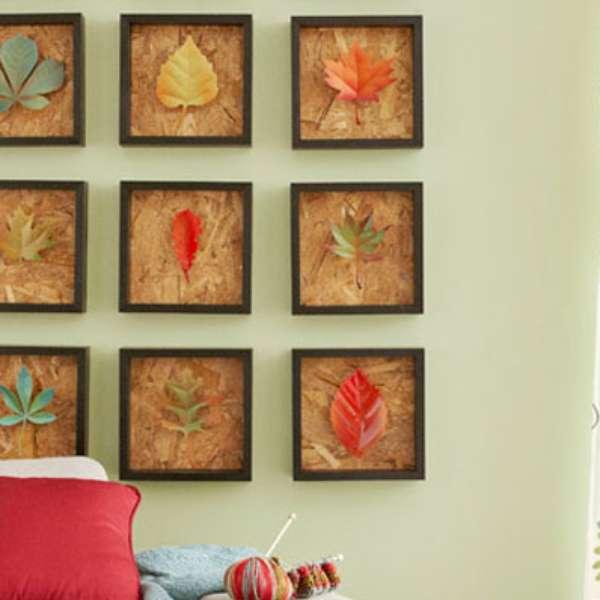 Decoraci n con hojas secas para paredes modernas for Decoracion con hojas secas