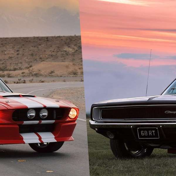 ford mustang shelby gt500 1967 vs dodge charger rt 1968. Black Bedroom Furniture Sets. Home Design Ideas