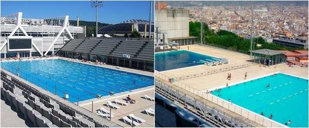 Un gran lago una piscina con vistas y otros ba os for Piscina montjuic barcelona