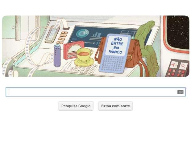 Douglas Adams é homenageado com doodle Goodle animado na data do seu 61º aniversário Foto: Google.com / Reprodução