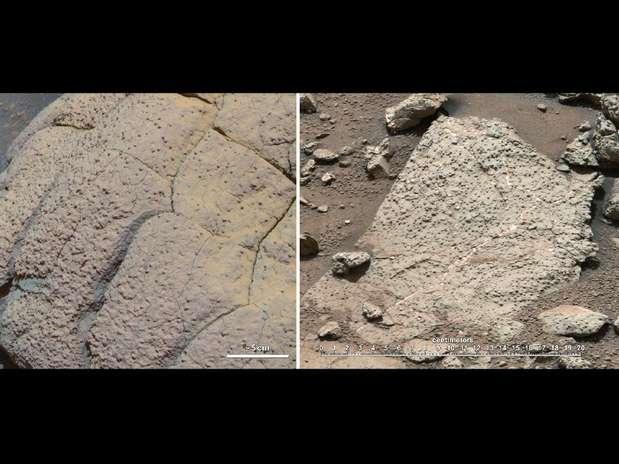 Na primeira imagem aparece amostras de rochas de Marte coletadas pela sondas Opportunity (esq.)  e Curiosity Foto: Nasa/Divulgação