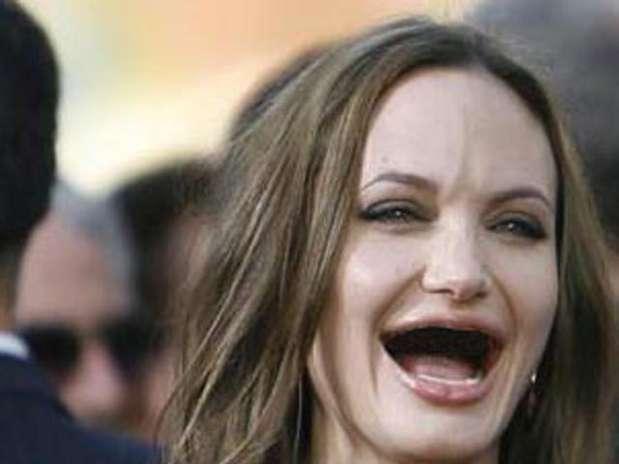 Angelina Jolie without Teeth