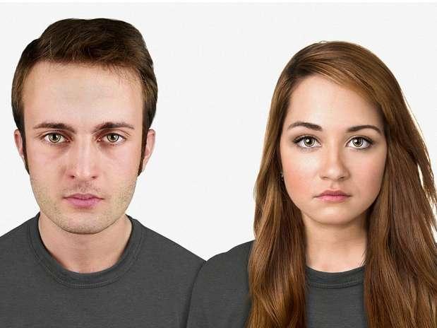 Em 20 mil anos -na projeção dos especialistas, daqui 20 mil anos a cabeça será maior, com uma testa sutilmente grande em comparação a anterior. O anel amarelo em torno dos olhos são lentes que devem representar o Google Glass do futuro Foto: Nickolay Lamm/MyVoucherCodes.co.uk / Divulgação