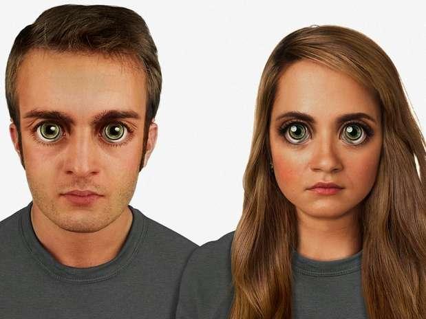 Em 100 mil anos -o rosto será proporcional à proporção áurea. Os olhos serão extremamente grandes, com um verde brilhoso como os de gatos. O arco superciliar será ainda mais marcado Foto: Nickolay Lamm/MyVoucherCodes.co.uk / Divulgação