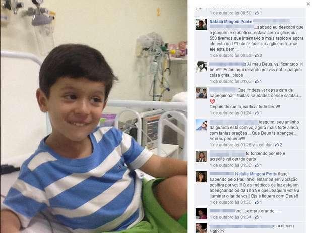 Em 1º de outubro, a mãe de Joaquim publicou uma foto do menino no hospital, quando foi descoberto que ele possuía diabetes Foto: Facebook / Reprodução