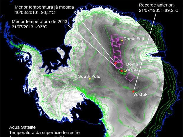 Nasa registra a menor temperatura de todos os tempos em região da Antártida: -93°C Foto: Nasa / Divulgação