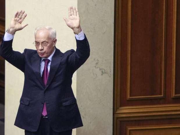 O premiê da Ucrânia, NikolaiAzarov, durante sessão plenária do Parlamento, em Kiev (imagem de arquivo) Foto: Gleb Garanich / Reuters