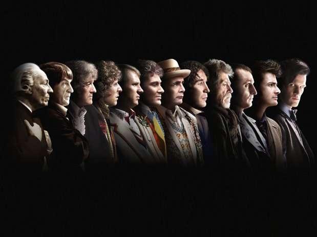 Os rostos de doze atores que interpretaram o Doutor, mais o do próximo a fazê-lo, foram combinados Foto: BBC