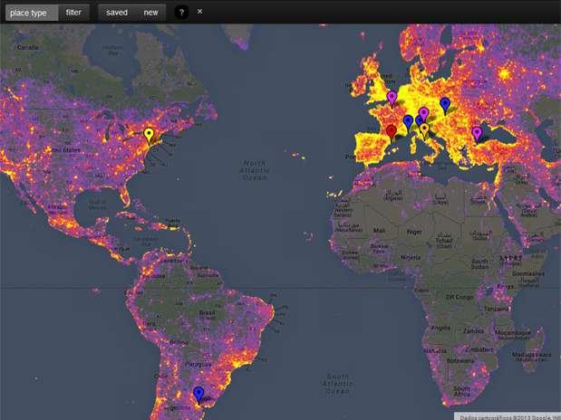 Mapa-múndi mostra os lugares onde as pessoas mais fotografam Foto: Reprodução