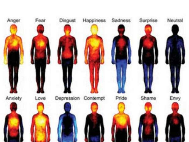 Vermelho era usado para marcar as áreas de maior atividade e o azul, as com menos sensações Foto: BBC / Reprodução