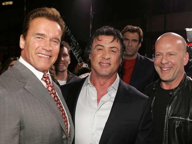 Os atores em première de 'Os Mercenários 2', em agosto 2010, em Hollywood, Califórnia Foto: Getty Images
