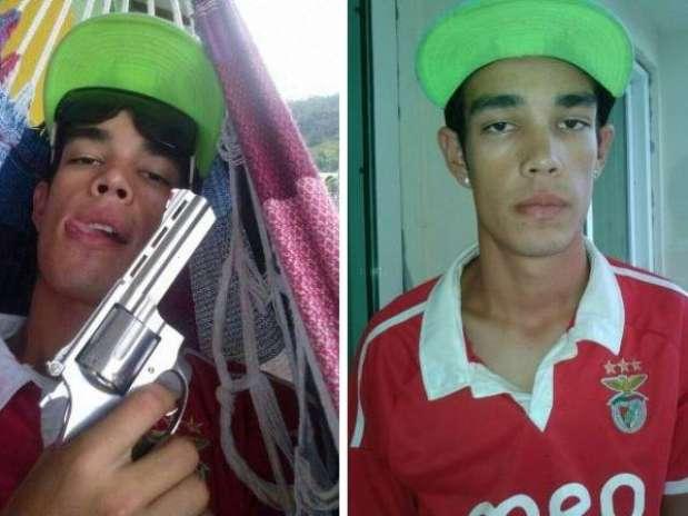 O suspeito foi preso com a mesma roupa da imagem postada no Facebook e com o revólver Foto: Polícia Militar / Divulgação