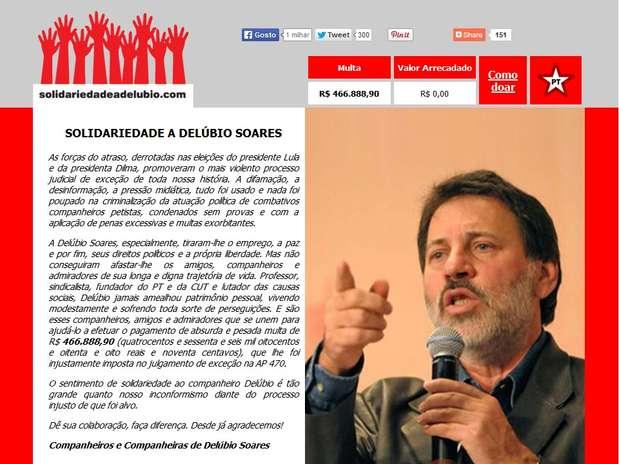 Página pede doações a condenado no mensalão e afirma que julgamento foi promovido por forças do atraso Foto: Reprodução