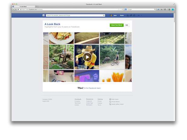 Vídeo mostras as principais atividades do usuário desde que entrou para a rede social Foto: Divulgação