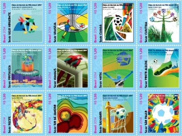 Selos foram baseados em cartazes de cada cidade-sede Foto: Divulgação