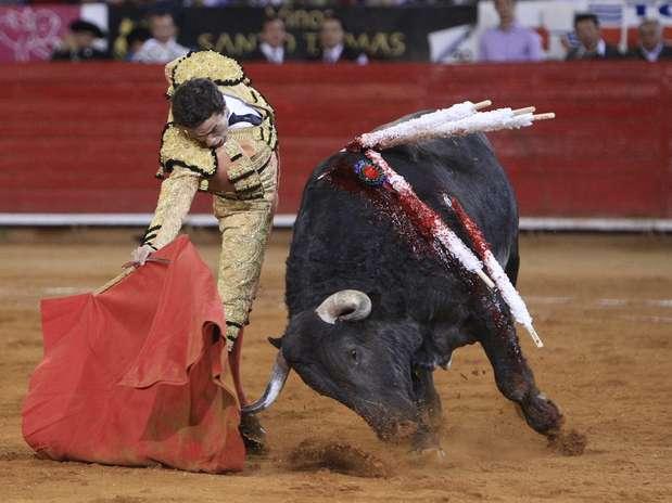 Uma pessoa ficou ferida durante tentativa de fuga do touro de quase uma tonelada Foto: EFE