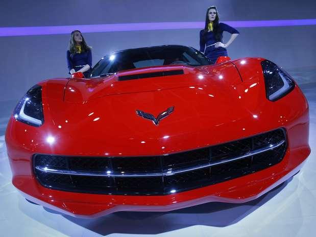 Modelo de Corvette em exposição durante a Indian Auto Expo 2014 (5 de fevereiro) Foto: Reuters
