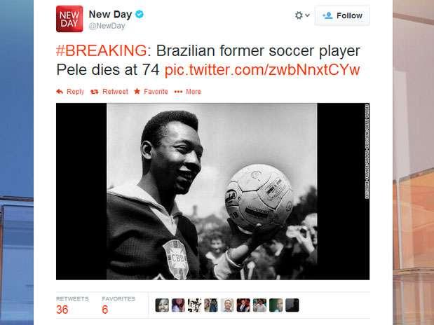 Twitter de programa da CNN anuncia morte de Pelé Foto: Twitter / Reprodução