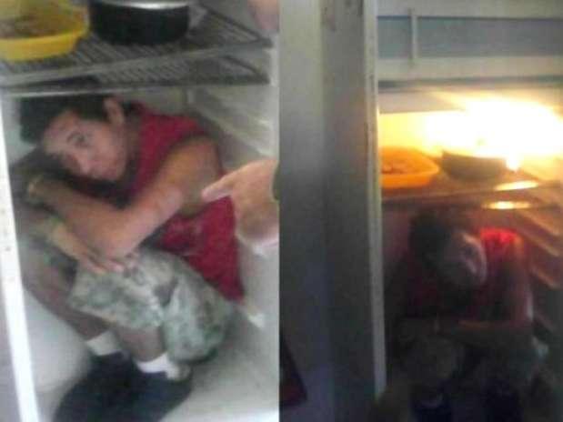 Fugitivo foi encontrado dentro de geladeira no noroeste do Rio Grande do Sul Foto: Polícia Civil do RS / Divulgação
