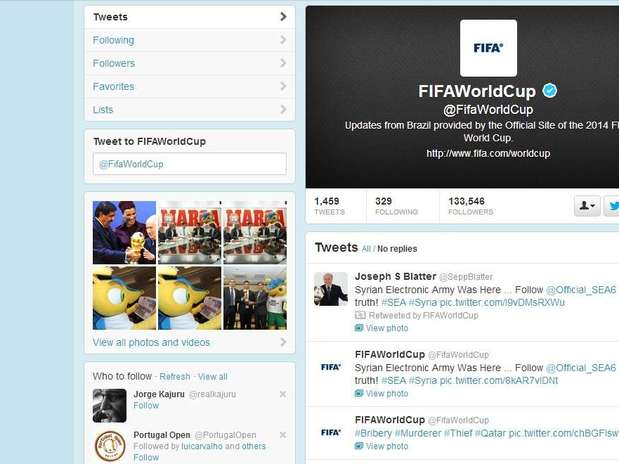 Conta oficial da Fifa no Twitter foi invadida na tarde desta segunda-feira Foto: Twitter