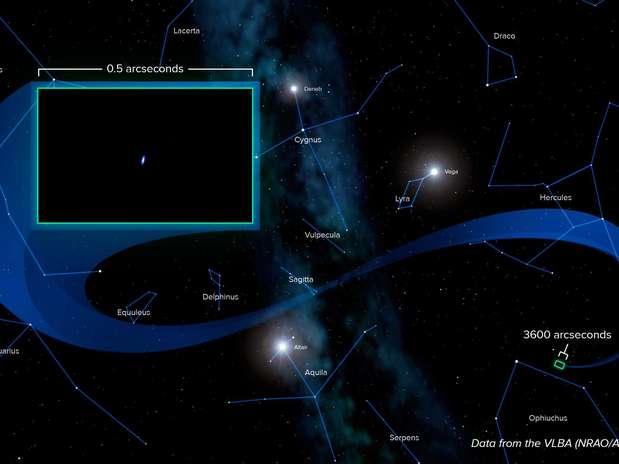 Ilustração feita a partir de dados obtidos por rede de radiotelescópios mostra localização da Voyager 1 Foto: Alexandra Angelich, NRAO/AUI/NSF / Divulgação