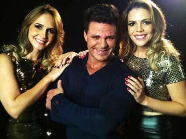 Bruna e Keyla com Eduardo Costa, com quem gravaram a música 'Vem Me Completar', primeiro single da dupla  Foto: Facebook / Reprodução