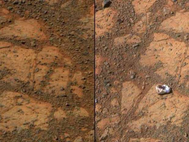 Montagem com fotos da Nasamostram a superfície de Marte. Cientistas estão intrigados sobre como uma pedra apareceu misteriosamente numa foto enviada de Marte pela sonda Opportunity Foto: NASA / Reuters