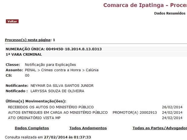 Processo criminal foi aberto por Neymar contra Laryssa Foto: Reprodução