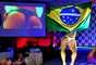 Vencedora do Miss Bumbum, Carine Felizardo desfilou com bandeira do Brasil