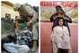 En esta imagen se puede ver a la izquiera un soldado de la marina de EE.UU. vendando los ojos a un presunto insurgente en noviembre de 2004 y en la derecha un peluquero iraquí compitiendo en un concurso el pasado 9 de febrero de 2013.