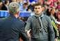 Y, a diferencia del juego de ida, los entrenadores Tito Vilanova, del Barcelona, y Jupp Heynckes, del Bayern Múnich, se encontraron en el banco y se saludaron.