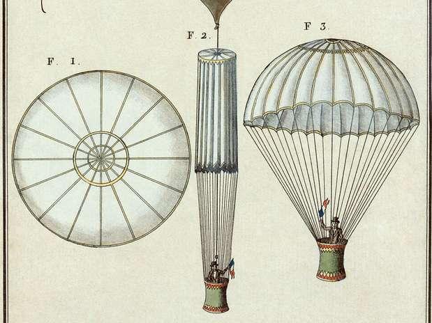 Primeiro salto de paraquedas: André-Jacques Garnerin desceu em direção à terra em Paris Foto: Wikimedia