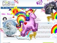 La web SantanderCityBrain.com llena de unicornios y arcoiris. Foto: 