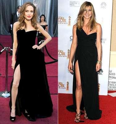 29 de Febrero de 2012 - ¿Copió Angelina a Jennifer Aniston? Mira la gran similitud del vestido pero, ¿Quién tiene la mejor pierna? porque ya sabes cúal es la más famosa en la red.