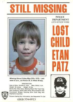 Luego de más de 30 años, las autoridades reiniciaron en 2012 la búsqueda de Etan Patz en abril. El sospechoso se mantuvo en custodia. El hombre confesó que tenía que ver con la desaparición del menor hace 33 años y fue interrogado por la policía de Nueva York ese mismo año. Patz fue el primer chico cuya foto se imprimió en los cartones de leche para dar con su paradero, conmocionando a Norteamérica y al mundo entero.