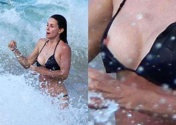 La actriz Courteney Cox saltó demasiado alto mientras jugaba a la orilla del mar.