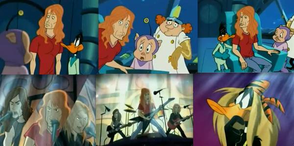 """Dave Mustaine y su banda Megadeth participaron en un episodio de la clásica serie animada el """"Pato Lucas""""."""