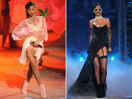 Rihanna fit right in with the Victoria's Secret models during her performance last night at the lingerie retailer's 2012 Fashion Show in New York City. The singer, who is currently promoting her upcoming album 'Unaopologetic' showed off a lot of leg and vintage vampy flare while singing down the runaway.