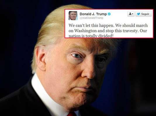 """Donald Trump no pudo contener su furia. Tras los resultados de las elecciones que determinaron un segundo mandato presidencial para Barack Obama, el magnate directamente llamó a iniciar una """"revolución"""" y a marchar a Washington en protesta. No es broma."""