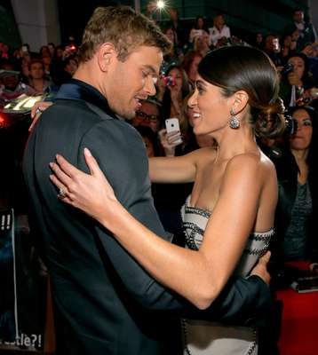 """NOVEMBER 12, 2012: Shall we dance? Kellan Lutz and Nikki Reed got quite cuddly at the """"Twilight"""" premiere in Los Angeles, Californa. Isn't she dating Paul McDonald and isn't he canoodling with Sharni Vinson?!"""