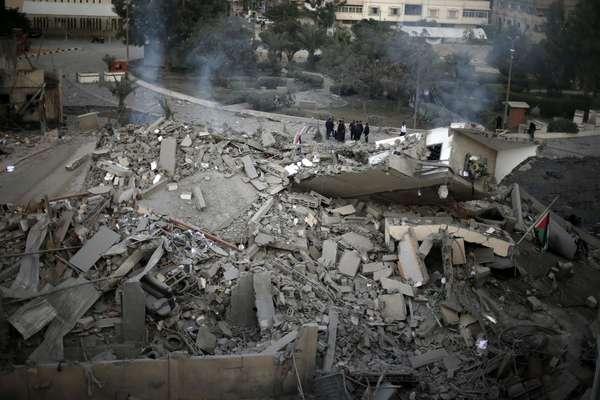El ataque sobre la sede del líder de Hamas en Gaza ha dejado las oficinas totalmente destruidas.