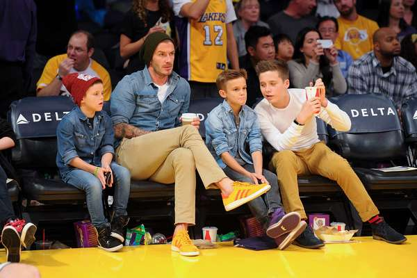 The Beckham boys attended the Suns v Lakers game on Firday. From left to right Cruz, David, Romeo and Brooklyn.