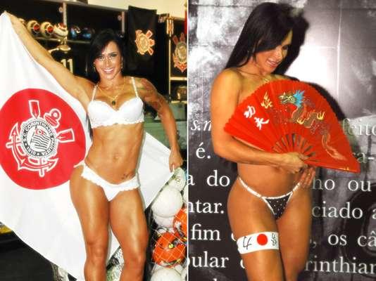 Com clima do Mundial de Clubes da Fifa, que será disputado neste mês no Japão, a modelo Fabiana Frota, mulher do ator Alexandre Frota, realizou um ensaio sensual para divulgar a linha de lingerie do Corinthians