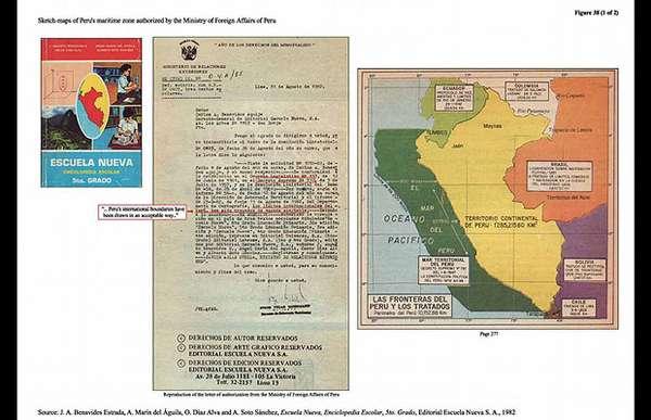 Tras culminada la primera fase de los alegatos orales ante la Corte Internacional de Justicia de La Haya, los abogados y juristas que defienden la causa chilena ante dicho organismo, presentaron una serie de mapas que ratificaban su posición, muchos de ellos, libros de educación escolar peruanos.