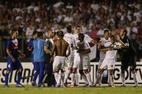 Unfortunately, a lot of soccer players don't know how to lose, and sometimes they don't know how to win either. Such was the case in the final of Copa Sudamericana 2012, when after alleged attacks by police and security personnel, players for Tigre refused to go back on the pitch after halftime. Subsequently, the referee awarded th egame to Sao Paulo, who was winning 2-0 at the time. Continue on for some of the most historic on-field brawls in the history of soccer.